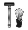 double edged razor and shaving brush objects vector image