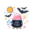 fairy pot with boiled love potion decorated by vector image