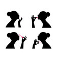 fashion makeup women silhouettes vector image