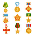 flat set of military medals with colorful vector image