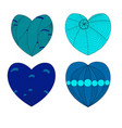 four multi-colored hearts in a zenart style on a vector image