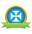 Gold religion cross logo vector image vector image