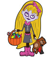 halloween trick or treating little girl vector image