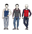 happy men group standing in stylish sportswear vector image vector image