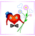 heart of a man is holding bouquet vector image vector image