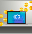 ico laptop with abstract ico interface on screen vector image vector image