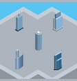 isometric building set of building skyscraper vector image vector image
