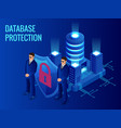 isometric database protection concept server room vector image