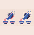 japanese or chinese tea set flat vector image