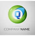 Letter Q logo symbol in the colorful circle on vector image
