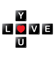 Love you crossword by scrabble tiles vector image