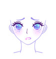 manga face colorful eyes in anime style vector image
