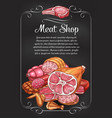 meat and sausage chalkboard banner of label design vector image vector image