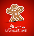 Merry Christmas Card Gingerbread Man on Red vector image