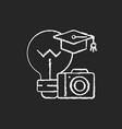 photography workshop chalk white icon on black vector image