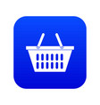 plastic shopping basket icon digital blue vector image