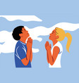praying god religion couple christianity vector image