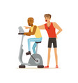 professional fitness coach and man working out on vector image vector image
