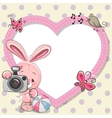 Rabbit with heart frame vector image vector image