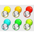realistic blank badges collection colorful 3d vector image