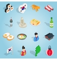 Republic Of Korea set icons isometric 3d ctyle vector image vector image