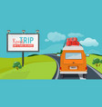road trip adventure concept with vacation travel vector image