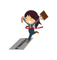 running businesswoman crossing finish line win vector image