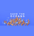 save ocean water paper cut coral reef concept vector image vector image
