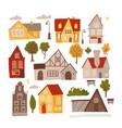 set bright colorful facades small cozy vector image vector image