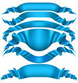 set of blue ribbon banners on white background vector image