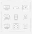 set of tech icons line style symbols with mobile vector image