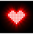Shining pixel heart for Valentines day designs vector image