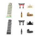 sights of different countries cartoonblack icons vector image vector image