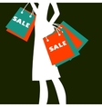 Silhouette of a woman shopping vector image vector image