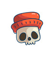 skull character with hat vector image vector image