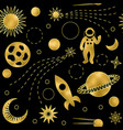 space luxury gold seamless pattern vector image