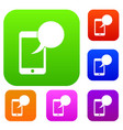 speech bubble on phone set collection vector image vector image