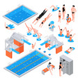 swimming pool isometric elements vector image