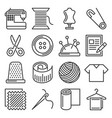 tailor and knitting sewing icons set vector image vector image
