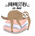 template with cartoon style sloth lying on the vector image