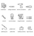 the electricians tools line icon set vector image vector image