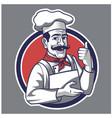 traditional chef showing thumb up mascot logo vector image vector image