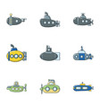 trough icons set flat style vector image vector image