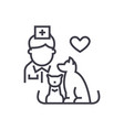 veterinarian with dog and cat linear icon sign vector image vector image
