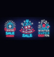 winter sale is a set of banners in the neon style vector image