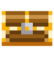 wooden closed chest for pixel-game design pixel vector image