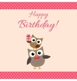 Party owls pink card vector image