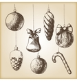 Brown vintage sketch - Christmas hand drawn vector image