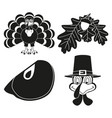 4 black and white thanksgiving silhouette elements vector image