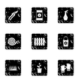 Agriculture icons set grunge style vector image vector image